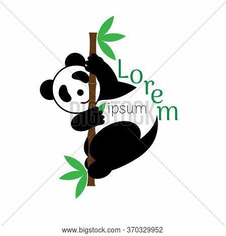 Panda Vector Logo Illustration. Panda S Head. Smiling Animal Face. Bamboo Bear Chinese Bear Logotype