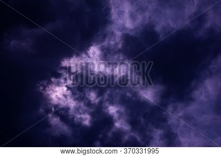 Natural Sky Composition. Dark Ominous Blue Storm Rain Clouds. Dramatic Sky. Overcast Stormy Cloudsca