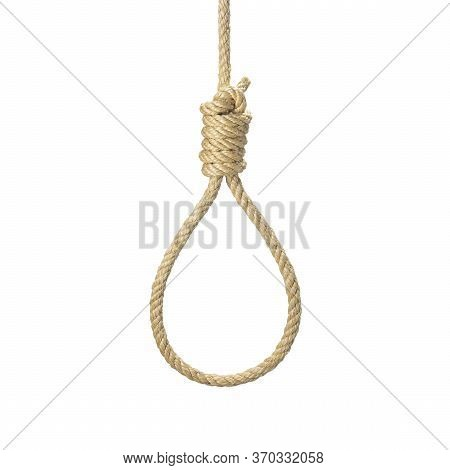 Rope Noose For Hangman, Suicide Made Of Natural Fiber Rope Isolate On White Background. Hemp Rope Ro