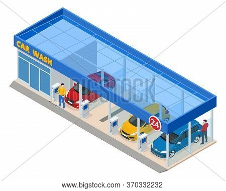 Isometric Car Washing Service. Innovative Self-service Car Wash. Man Worker Washing Car 24h Self-ser
