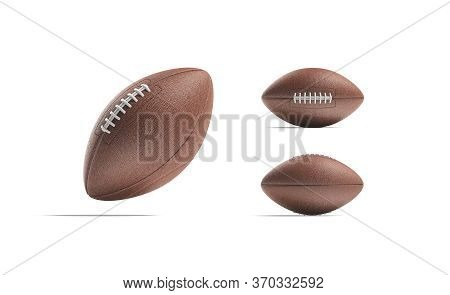 Blank Brown American Soccer Ball Mock Up, Different Views, 3d Rendering. Empty Sport Oval For Nation
