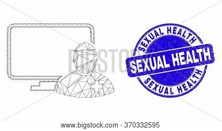 Web Carcass Computer Doctor Pictogram And Sexual Health Seal Stamp. Blue Vector Round Grunge Seal St