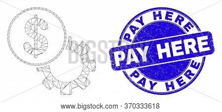 Web Carcass Dollar Setup Gear Pictogram And Pay Here Seal. Blue Vector Rounded Textured Seal Stamp W