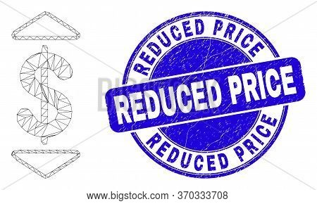 Web Mesh Dollar Up Down Pictogram And Reduced Price Seal Stamp. Blue Vector Rounded Distress Seal St