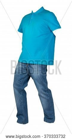 Mens Blue T-shirt With Button-down Collars And Blue Jeans Isolated On White Background.casual Clothi