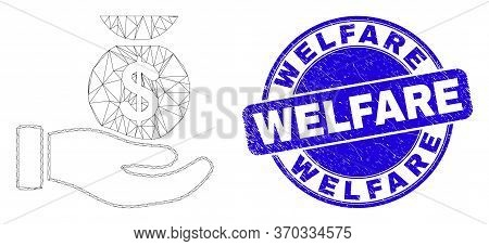 Web Mesh Financial Service Hand Pictogram And Welfare Stamp. Blue Vector Rounded Grunge Seal Stamp W