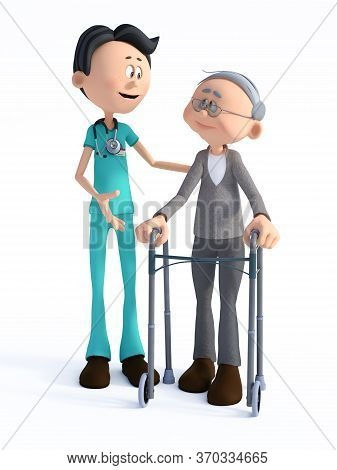 3d Rendering Of A Young Smiling Friendly Cartoon Doctor Wearing A Stethoscope Helping An Elderly Man
