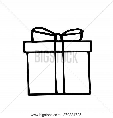 Gift Box With Bow. Hand Drawn In Doodle Style. Vector Scandinavian Monochrome Minimalism. Single Ele