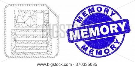 Web Carcass Floppy Disk Icon And Memory Watermark. Blue Vector Rounded Textured Watermark With Memor