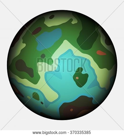 Vector Colored Image Of The Abstract Planet