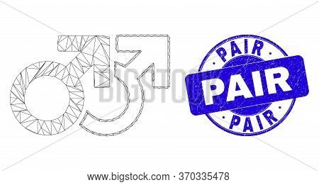 Web Carcass Gay Pair Symbol Icon And Pair Stamp. Blue Vector Round Grunge Stamp With Pair Message. A