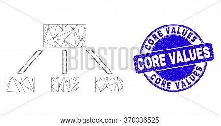 Web Carcass Hierarchy Pictogram And Core Values Watermark. Blue Vector Round Grunge Watermark With C