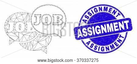 Web Mesh Job Forum Messages Pictogram And Assignment Stamp. Blue Vector Rounded Scratched Stamp With