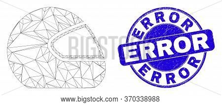 Web Carcass Motorcycle Helmet Pictogram And Error Watermark. Blue Vector Rounded Distress Watermark