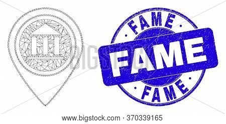 Web Mesh Museum Map Marker Icon And Fame Seal. Blue Vector Rounded Grunge Seal Stamp With Fame Title