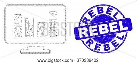 Web Carcass Online Chart Icon And Rebel Seal Stamp. Blue Vector Round Scratched Seal Stamp With Rebe