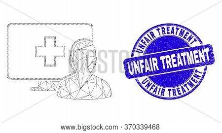 Web Mesh Online Medical Patient Pictogram And Unfair Treatment Watermark. Blue Vector Round Scratche