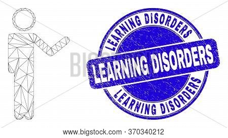 Web Mesh Person Show Pictogram And Learning Disorders Seal Stamp. Blue Vector Rounded Grunge Seal St