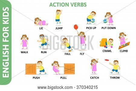 English For Kids Playcard. Action Verbs With Playing Characters. Word Card For English Language Lear