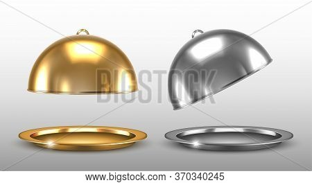 Dome For Restaurant Dishes. Vector Realistic Golden And Silver Cloche.