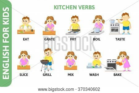English For Kids Playcard. Kitchen Verbs With Chartoon Characters. Dictionary Card For English Langu