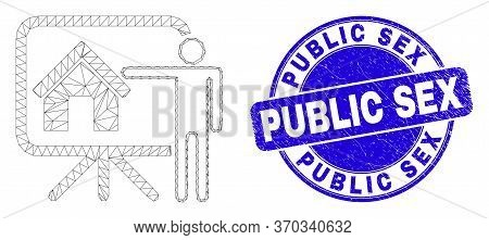 Web Carcass Realtor Public Report Pictogram And Public Sex Seal Stamp. Blue Vector Round Textured St