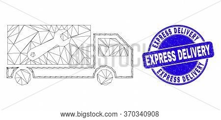 Web Carcass Repair Lorry Icon And Express Delivery Stamp. Blue Vector Rounded Grunge Stamp With Expr