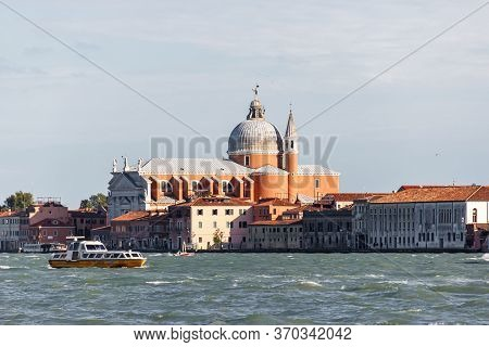 Venice, Italy - September 28, 2015 : Water Channels Of Venice City. Church Of The Santissimo Redento
