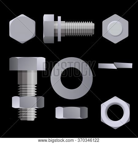 Set Of Metal Fasteners. Bolts, Nuts, Washers