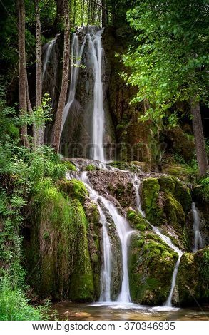 Waterfall In Nature. Waterfall In Mountain Nature. Mountain River Waterfall. Nature. Waterfall. Natu