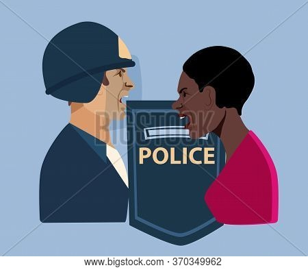 Conflict Between An African American Woman And A Policeman. African American Woman Supports Movement