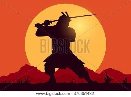Vector Illustration Sillhouette Of Samurai Worrior With Sword On Sunset Backgound
