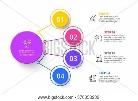 Four Circles Infographic Elements. Business Template For Presentation. Vector Flowchart Concept With
