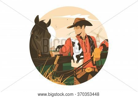 Cowboy With Horse Vector Illustration. Cowpuncher And