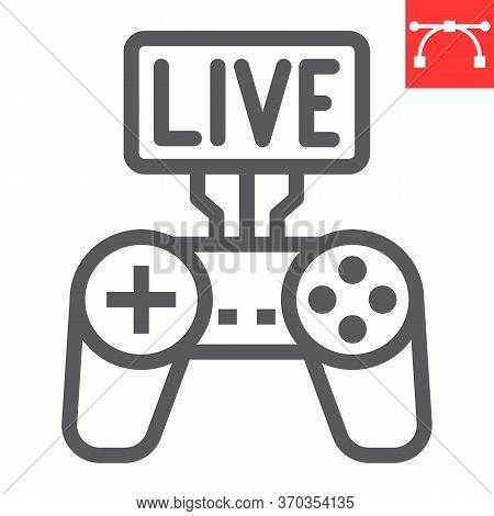 Game Streaming Line Icon, Video Games And Stream, Live Stream Sign Vector Graphics, Editable Stroke