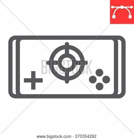 Mobile Game Line Icon, Video Games And Smartphone, Mobile Gaming Sign Vector Graphics, Editable Stro