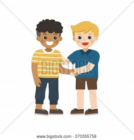 Happy Boys Standing And Shaking Hands Making Peace. Happy Multiracial Kids Best Friends. Happy Boys