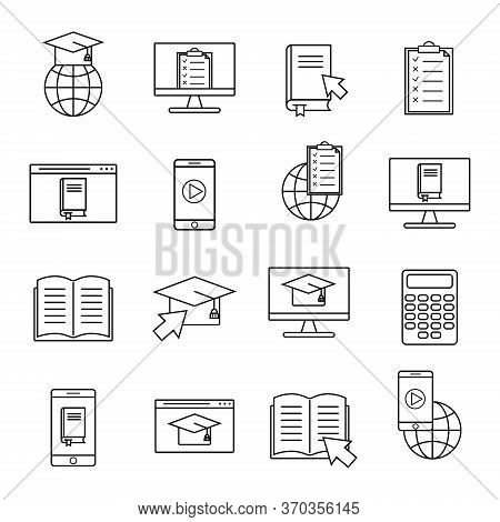 Online Education Linear Icon. Elearning Training Course Set Symbols. Computer, Mobile E-learning For