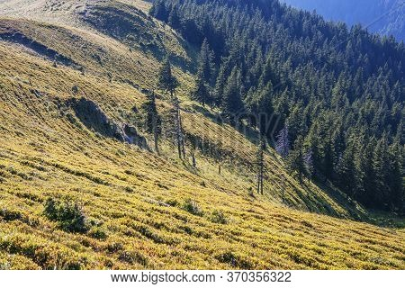 Awesome Mountain Landscape, Nature And Its Beauty, Located On The Red Mountain, Romania. Sunrise In