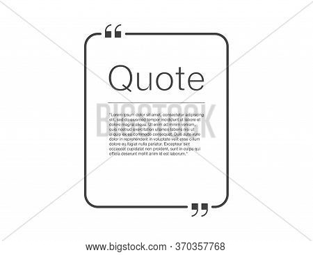 Quote Frame. Mockup Of Quatation Square Box. Editable Quoted Message In Black With Transparent Backg