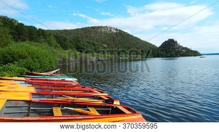 Beautiful Colorful Boats That Are Staying Empty On The Lake Because Of The Pandemia