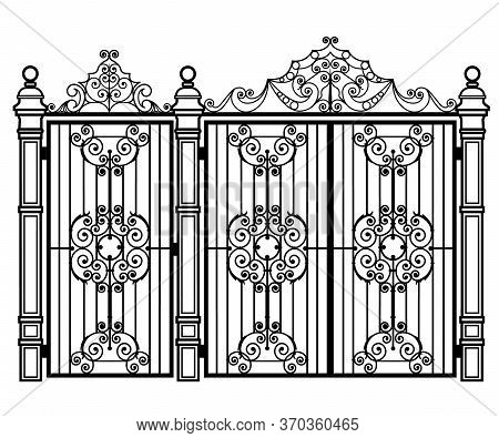 Black Forged Gate And Wicket On A White Background