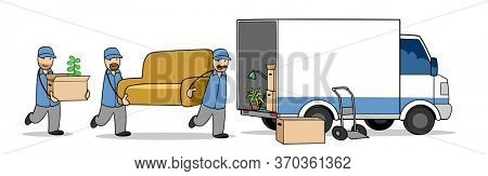 Furniture packers and moving helpers carry a sofa when moving into the truck of a moving company