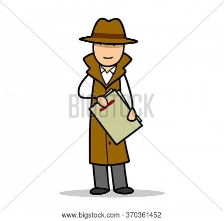Cartoon agent or spy from intelligence agency or secret service with file