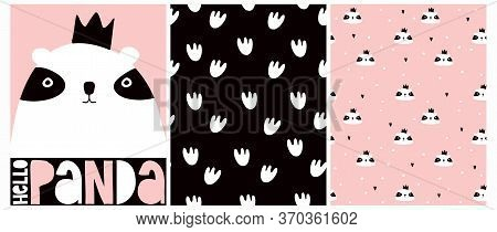 Hello Panda. Vector Illustration With Cute Hand Drawn Panda Bear Isolated On A Pink Background. Love