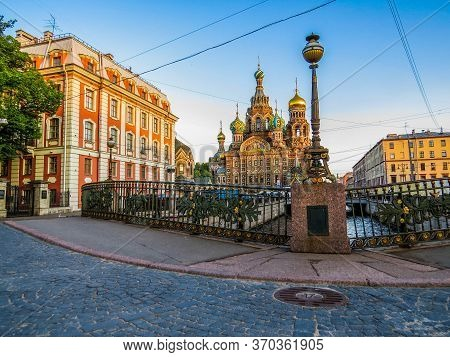 St. Petersburg, Russia - Picturesque View Of The Old Town With The Griboyedov Canal And The Landmark