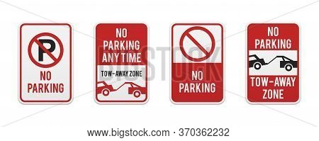 Graphic No Parking Signs. Classic Design Road And Street Signs. Vector Elements For Production, Grap