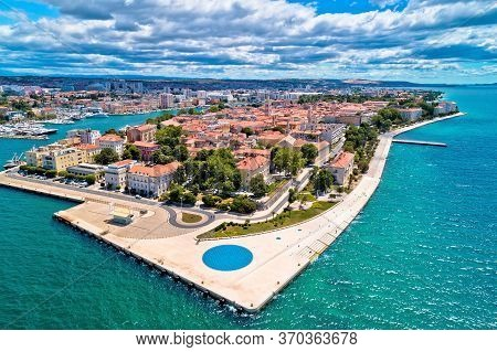 Zadar. Town Of Zadar Historic Peninsula Panoramic Aerial View, Dalmatia Region Of Croatia