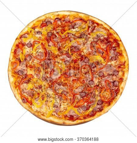 Tasty Pizza On A Wooden Board. Italian Food Isolated On The White Background. View From The Top