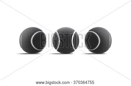 Blank Black Tennis Ball Mock Up, Front And Side View, 3d Rendering. Empty Fuzz Round Equipment For T